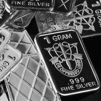Lot 30 X 1 Gram  .999  Fine Pure Silver Bar Bullion  /  Special Forces WPT206 oz