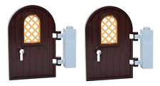 LEGO arched curved doors with gold windows x2 dark brown castle house hinges
