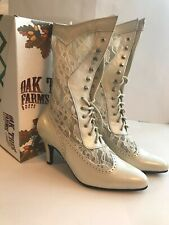 Ivory Leather and Lace Victorian Boots, Size 6.5, 7.5.,8.5,10