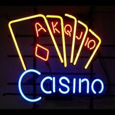 """Casino Poker Game Room Open Neon Lamp Sign 17""""x14"""" Bar Light Glass Artwork"""