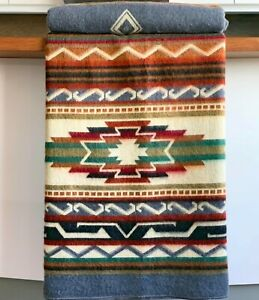 "EXTRA LARGE SOFT & WARM ALPACA WOOL BLANKET 75x90"" NATIVE SOUTH AMERICAN PATTERN"