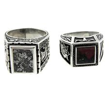 Sterling Silver Bloodstone and Crystaline Mens Rings