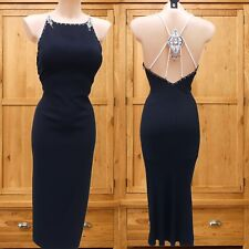 Size 14 UK Karen Millen James Bond New Year Party Backless Diamante Beaded Dress