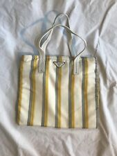 Prada Nylon Mini Striped Tote Bag White Grey Yellow