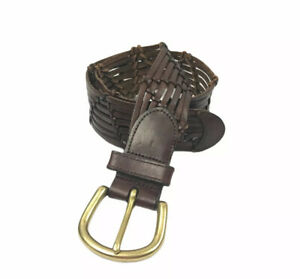 Fossil Womens Classic Leather Braided Belt S Brown Solid Brass Buckle BR4473