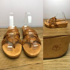 Timberland Women's Tan Leather Sandals UK 7.5 US 9.5 Slip On Wedge