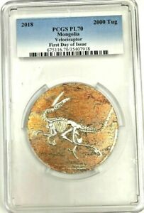 2018 Mongolia 2000 Tugrik Silver Coin Velociraptor First Day of Issue PCGS PF70