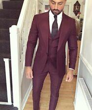 Custom Men 3Pcs Burgundy Groom Tuxedos Business Suit Classic Dinner Wedding Suit