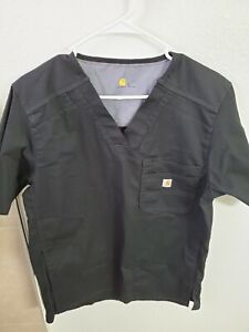 "Carhartt Men's Slim Fit Pocket V-Neck Scrub Top Black S(42""Chest/28""L) NWOT"