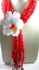 Statement 8 Strand Coral Necklace with Huge MOP Flower & tassle Sterling Silver