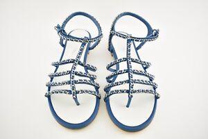 NIB Chanel 18P Blue Silver Chain CC Gladiator Strap Mule Slide Flat Sandals 40
