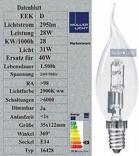 Windstoßkerze 28W Halogen E14 40W Glühbirne Nachfolger Glühlampe Windstoß