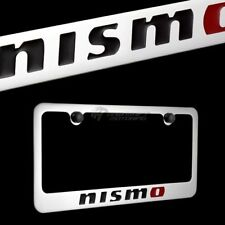 For Nissan NISMO Logo Chrome Plated Brass License Plate Frame with 2 Black Caps