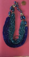 Vtg Doubled Strand Midnight Blue & Turquoise Glass Bead Necklace Retro