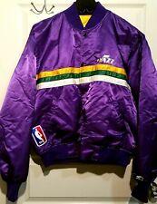 RARE Vintage NBA Utah Jazz Purple Shiny Satin Starter Bomber Jacket XXL Hip Hop