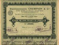Etablissements CHAMPION et Cie. S.A., Aktie, 500 Francs, Pantin, im Jahr 1930