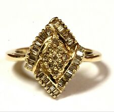 10k yellow gold .495ct SI2 Top LIght Brown diamond cluster band ring 3.9g estate