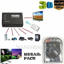 NEW BOXED 5 IN 1 OUT HDMI SPLITTER 5 WAY SWITCH BOX Hub SUPPORT FULL HD 3D