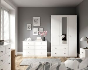 Ready Assembled Somerset White Wardrobe Drawers Complete Bedroom Furniture Set