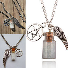 Retro Supernatural Protection Necklace Angel Wing Pentagram Salt Bottle Pendant