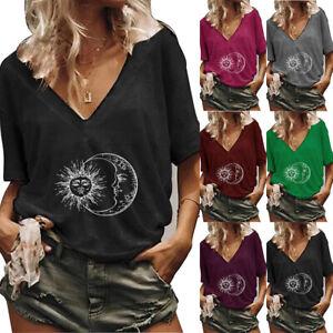 Women Sun & Moon Print Blouse Short Sleeve V Neck T-Shirt Casual Hippie Tops Tee