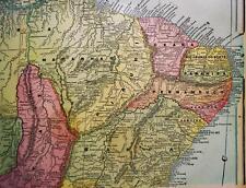 SOUTH AMERICA BRAZIL CUBA MAP 1894 GEORGE F. CRAM ATLAS PAGE VINTAGE