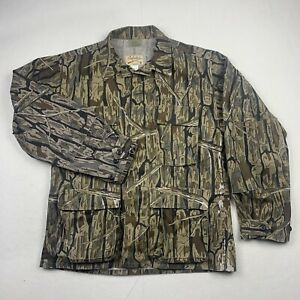 Cabelas Hunting Jacket Mens L Long Sleeve Button Up Branch Bark Camo