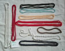 Necklaces Vintage Rope Bead Retro White red black pink party bags Festival