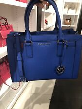 NWT MICHAEL KORS LEATHER DILLON TOP ZIP MEDIUM EW SATCHEL BAG IN ELECTRIC BLUE