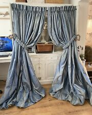 Bespoke Opulent Blue Stripe SILK Interlined Large Curtains * 3 Pairs Available