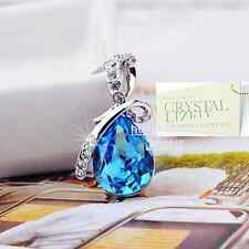 SWAROVSKI CRYSTAL Turquoise Pendant White Gold Plated Necklace Gift Sister Wife