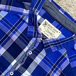 Marc Ecko Large Mens Button Up Short Sleeve Shirt Plaid Cut & Sew Casual Cotton