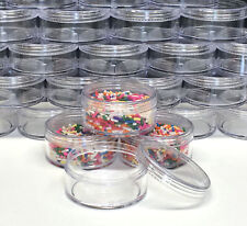 500 Cosmetic Jars Empty Plastic Beauty Containers 50 Gram 50 ml Clear Caps #3057