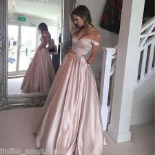 Off Shoulder Long Prom Dresses Beaded Blush Pink Evening Party Gown With Pockets