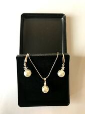 925 Sterling Silver White Pearl Pendant Necklace Earring Boxed Gift Jewelry Set