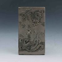 Chinese Collection Tibet Silver Hand Carved Dragon & Phoenix Pendant G589/