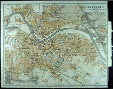 DRESDEN, alter farbiger Stadtplan, datiert 1913