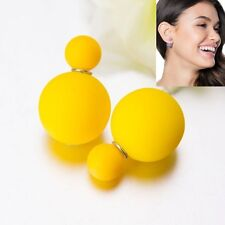 Double Sided Bubblegum Ball Earrings Matte Yellow 360 Front Back Silver Studs
