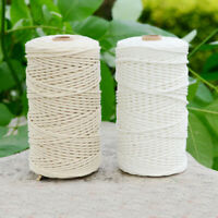 200m White Cotton Cord Natural Beige Twisted Cords Rope Craft Macrame String DIY