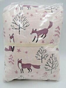 Pottery Barn Teen Winter Foxes Flannel Queen Organic Sheet Set Mauve Blush #8586