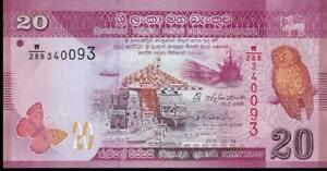 SRI LANKA 20 Rupees, P- 123c; UNC from 2015; OWL