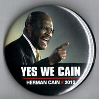 """2012 Herman Cain 2-1/4"""" / (R)Presidential Hopeful Campaign Button (Pin 01)"""