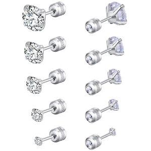 Silver Stainless Steel Round CZ Stud Earrings for Women Men Piercing Screw Back