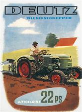 DEUTZ 22 PS Traktor Blechschild 8x11 cm Blechkarte Sign PC-201/534