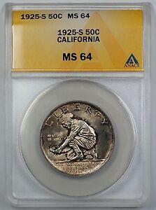 1925-S California Commemorative Silver Half Dollar ANACS MS 64 Toned