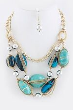 D15 Kim Lou e Designer Turquoise Green Chain Stone Gold Statement Necklace $268