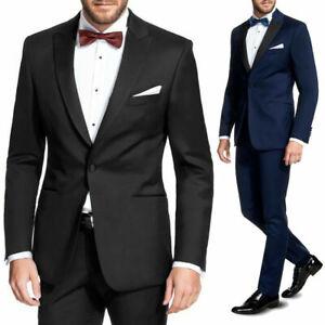 Smoking Uomo Blu Abito Nero Vestito Elegante Slim Fit Cerimonia Sartoriale VEQUE