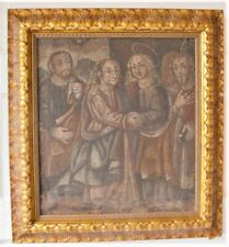ORIGINAL 17th C. EARLY SPANISH COLONIAL Oil Painting  Christian Saints  c. 1650