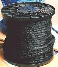 "ANCHOR ROPE DOCK LINE 3/8"" X 50' BRAIDED 100% NYLON BLACK MADE IN USA"