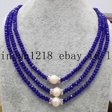 New 2x4mm 3Row Blue Sapphire Gemstone White Akoya Pearl Bead Necklace 17-19''Aaa